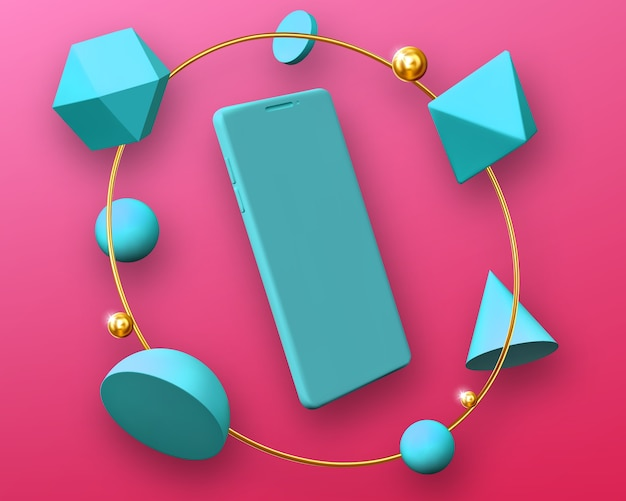 Mockup di smartphone in cornice rotonda di forme geometriche 3d Vettore gratuito