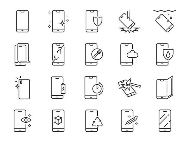 Smartphone protection line icon set. Premium Vector