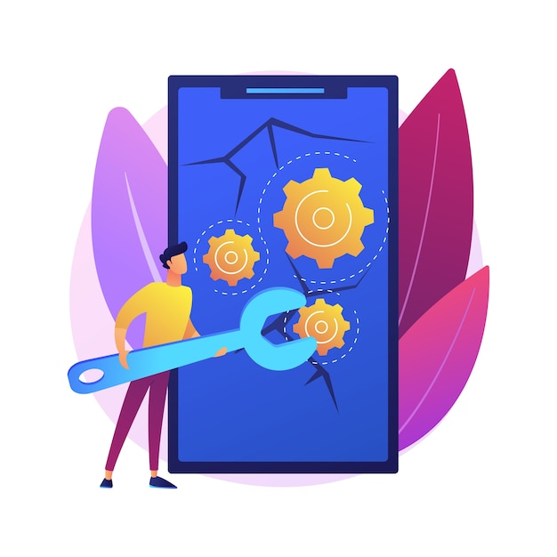 Smartphone repair abstract concept  illustration. cell phone repair, smartphone urgent mending service, screen replacement, data recovery, electronic device fixing shop . Free Vector