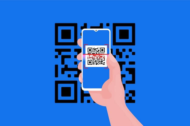 Smartphone scanning qr code style Free Vector