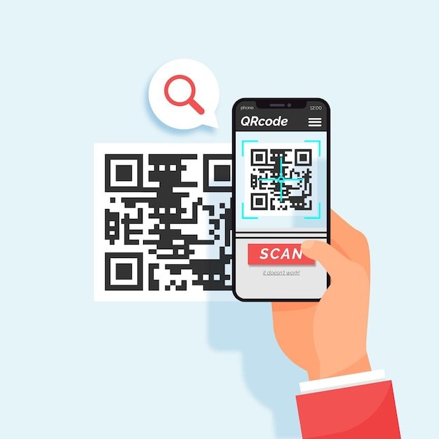 Smartphone scanning qr code Free Vector