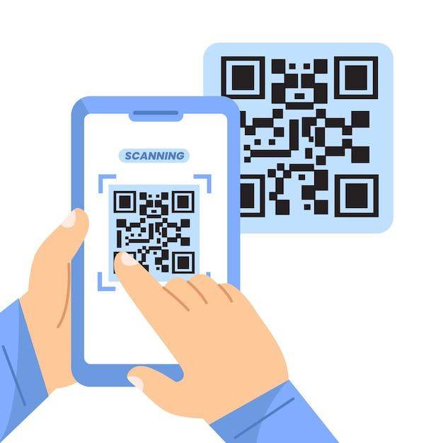 Сканирование qr-кода смартфоном Бесплатные векторы