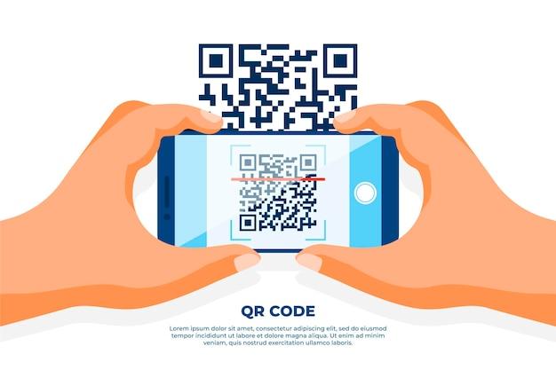 スマートフォンのスキャンqrコード 無料ベクター