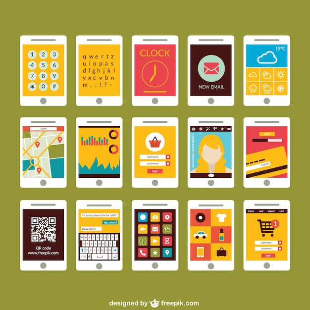 Smartphone screen collection Free Vector