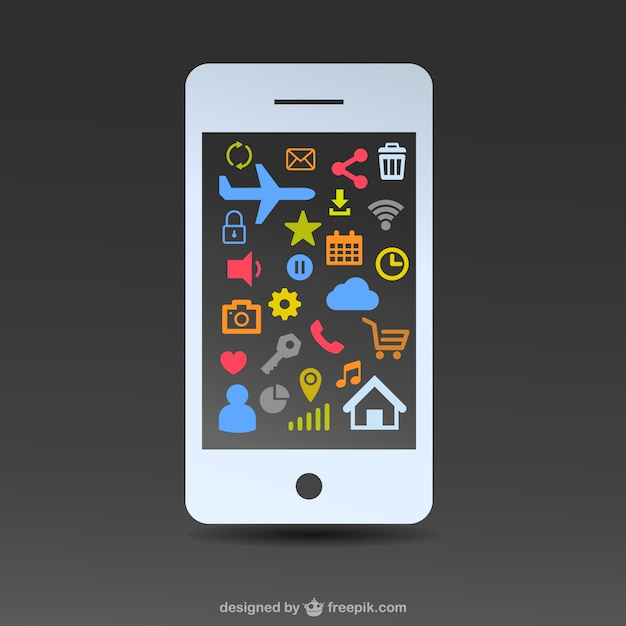 Smartphone screen with colorful icons Free Vector