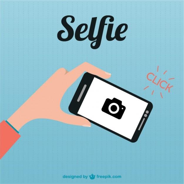 Smartphone selfie flat illustration  Free Vector