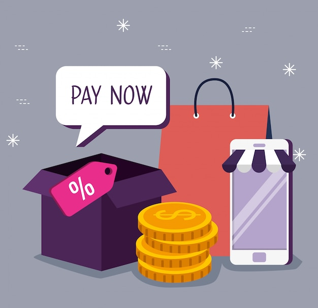 Smartphone for shopping online with packages and coins Free Vector