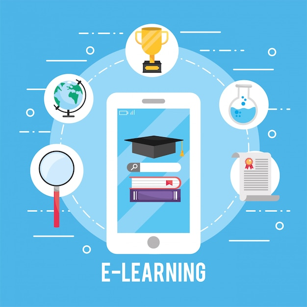 Smartphone technology with education books and certificate Premium Vector