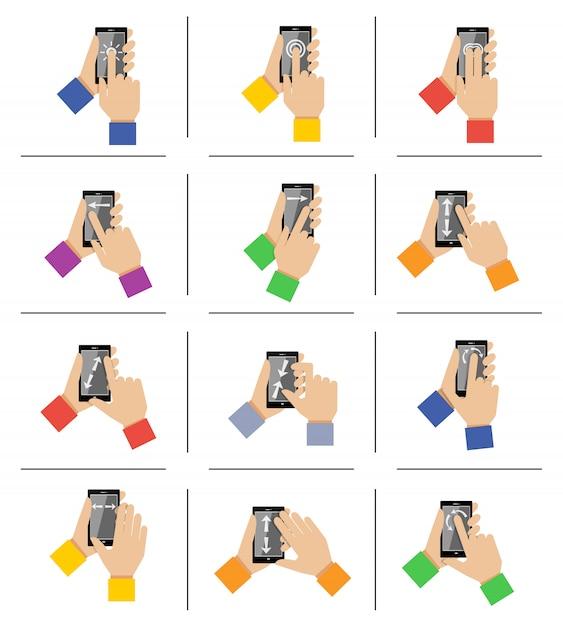 Smartphone touch gestures Premium Vector