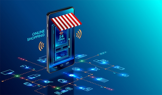 Smartphone turned into internet shop Premium Vector