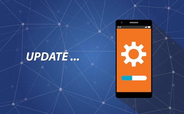 Smartphone update process Premium Vector