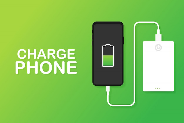 Smartphone usb cable connection with external power bank.  illustration. Premium Vector
