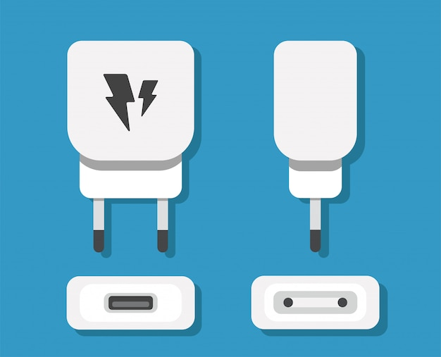 Smartphone usb charger adapter with usb micro cable (socket and connector for pc and mobile devices) Premium Vector