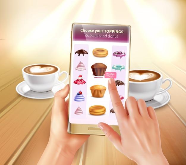 スマートフォンの仮想拡張現実料理アプリケーションは、トッピングの現実的な構成を選択するレシピを提案する製品を認識します 無料ベクター