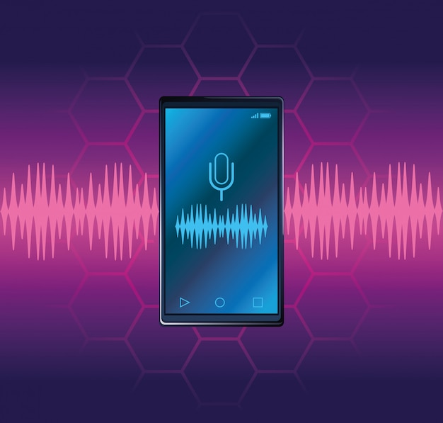Smartphone voice recognition speaker Premium Vector