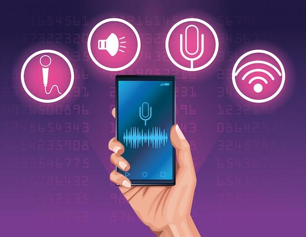 Smartphone voice recognition speaker Premium Vector