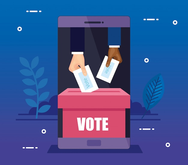 Smartphone for vote online with hands and ballot box Premium Vector