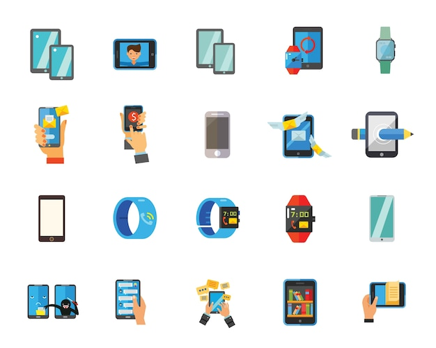 Smartphone and watch icon set Free Vector