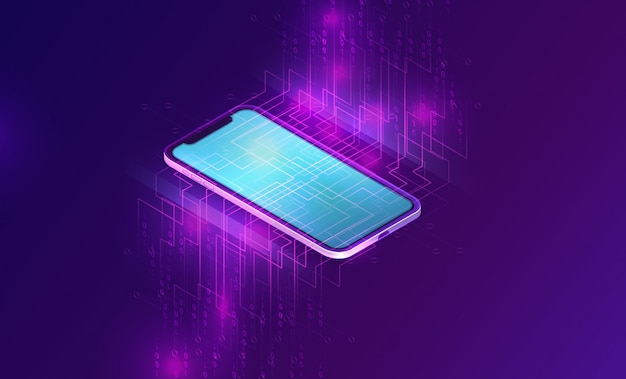 Smartphone with big data stream isometric banner Free Vector