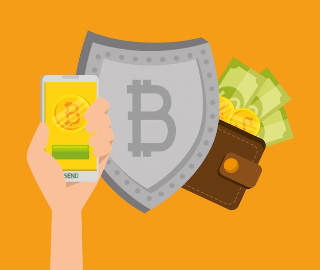 Smartphone with bitcoin currency and shield with bills Free Vector