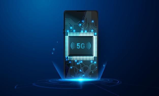 ビジネスグラフと分析データを備えたスマートフォン5g抽象技術コミュニケーションコンセプトの背景 Premiumベクター