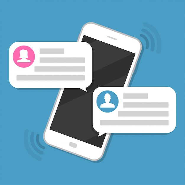 Smartphone with chat messages notification Premium Vector