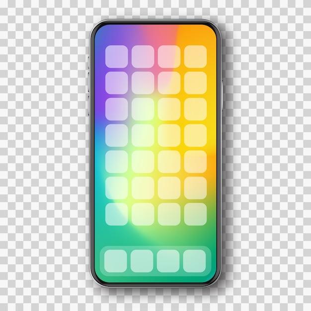 カラー画面とアプリを搭載したスマートフォン Premiumベクター