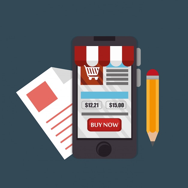 Smartphone with electronic commerce icons Free Vector