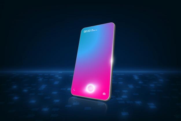 Smartphone with finger scan, vector Premium Vector