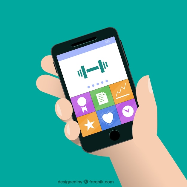 Smartphone With Fitness App Vector Free Download