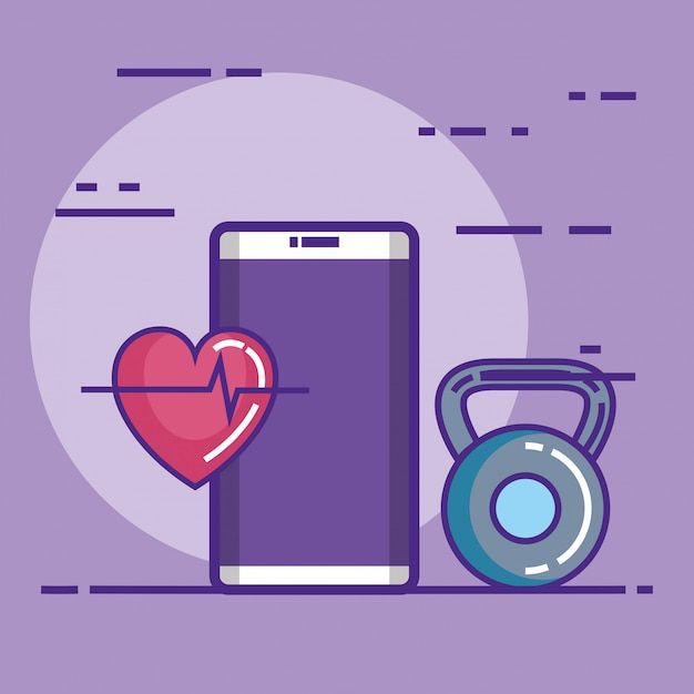 Smartphone with fitness and healthy lifestyle icons Free Vector