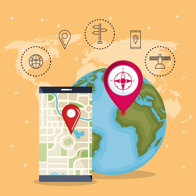Smartphone with gps navigation app Free Vector