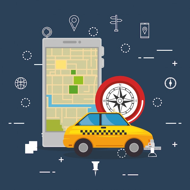 Smartphone with gps navigation app Vector | Free Download