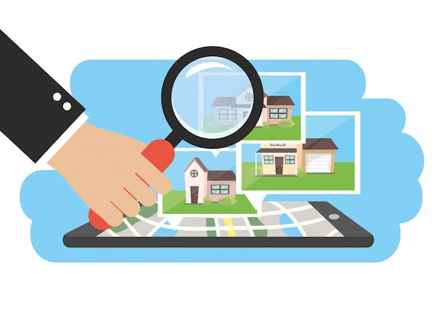 Smartphone with houses property map and businessman Premium Vector