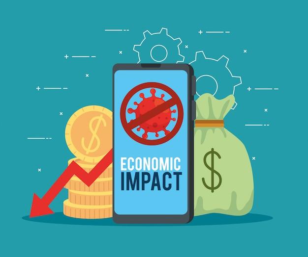 Smartphone con icone di impatto economico di covid 2019 Vettore gratuito