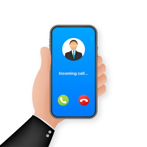 Smartphone with incoming call on display. incoming call.   illustration. Premium Vector