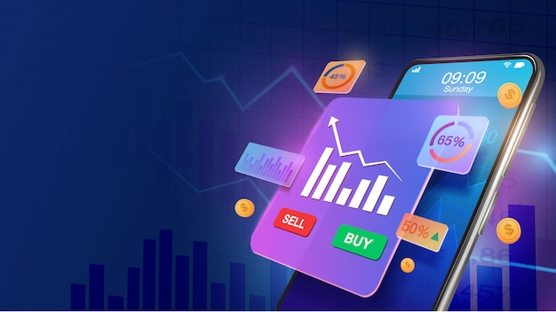 Smartphone with increase market share investment and economic growth graph chart. stock market, business growth, strategy planing concept. invest online. Premium Vector