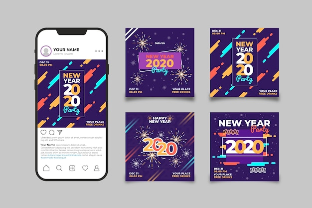 Smartphone with instagram platform filled with new year photos Free Vector
