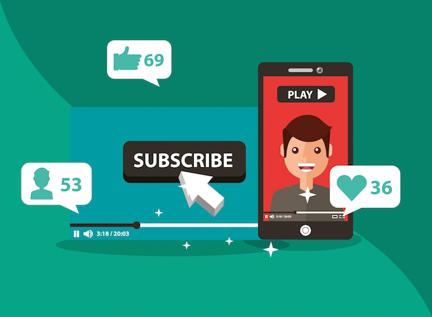 Smartphone with man on screen subscribe popular channel Premium Vector
