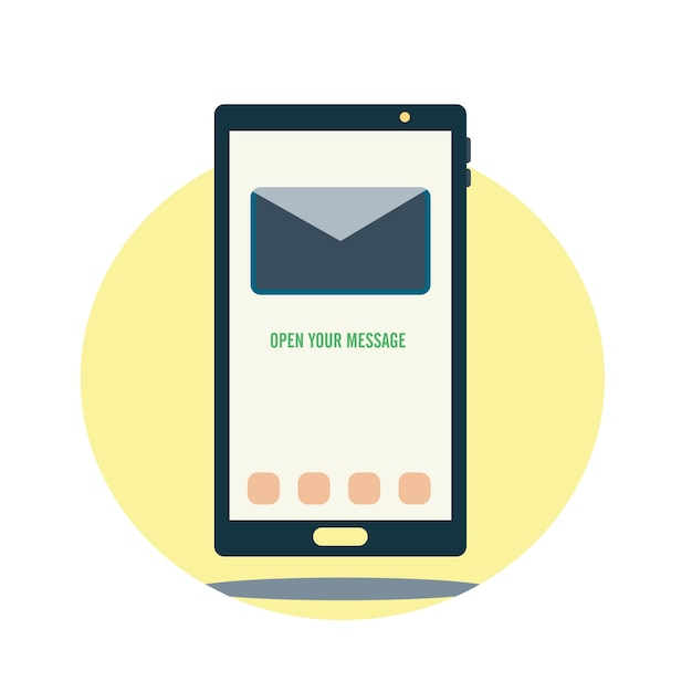 Smartphone with message illustration Free Vector