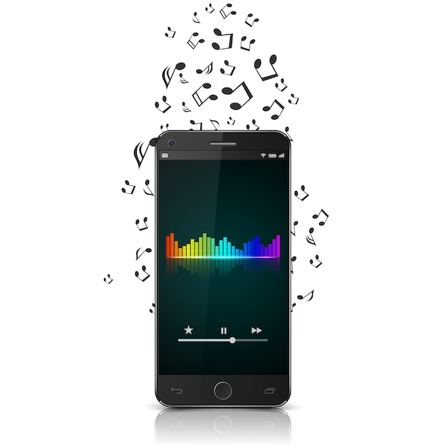 Smartphone with music notes. Premium Vector