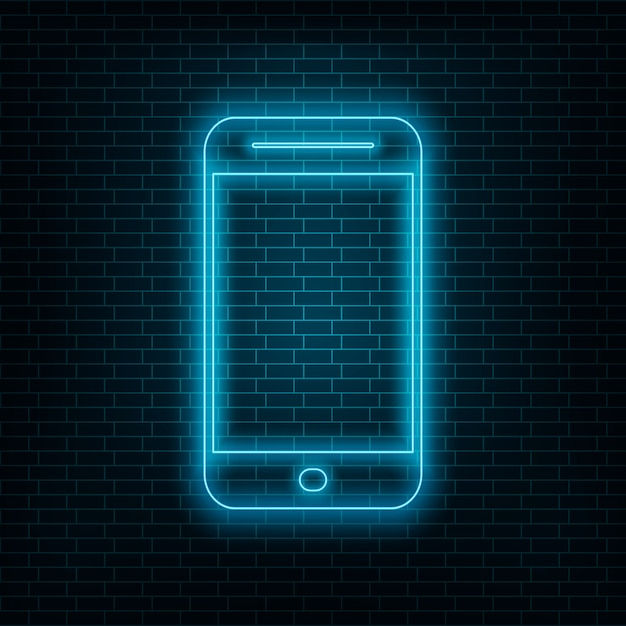 Smartphone with neon effect, blue neon phone on wall Premium Vector