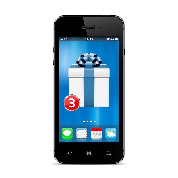 화면에 새로운 선물 상자 앱이있는 스마트 폰 프리미엄 벡터