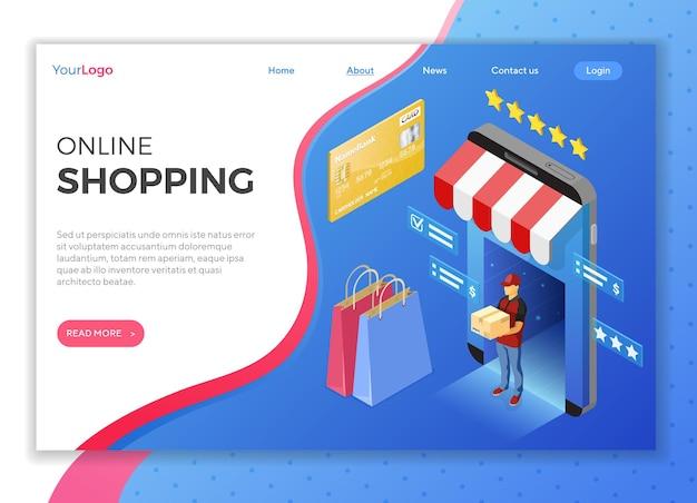 온라인 상점, 배달, 택배가있는 스마트 폰. 인터넷 쇼핑 및 온라인 배달 개념. 아이소 메트릭 아이콘. 방문 페이지 템플릿. 프리미엄 벡터