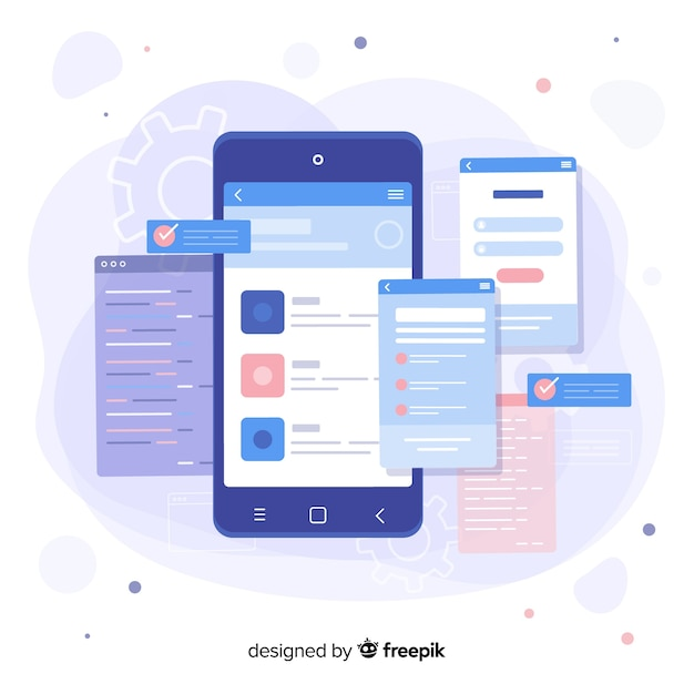 Smartphone with open pages landing page Free Vector