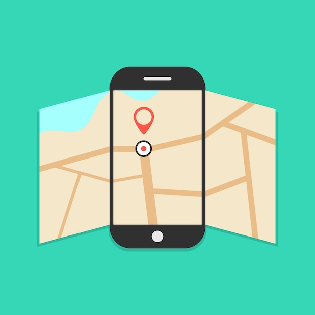 Smartphone with opened map isolated on green Premium Vector