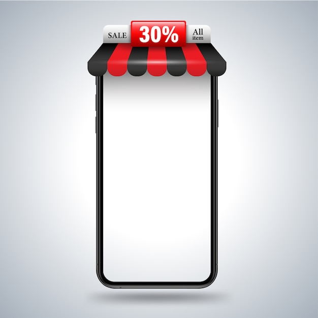 Smartphone with roof shop banner for promotion advertising Premium Vector