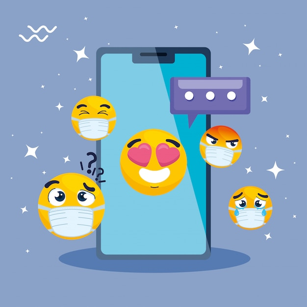 Смартфон с набором смайликов, желтые лица в смартфоне устройства векторные иллюстрации дизайн Premium векторы