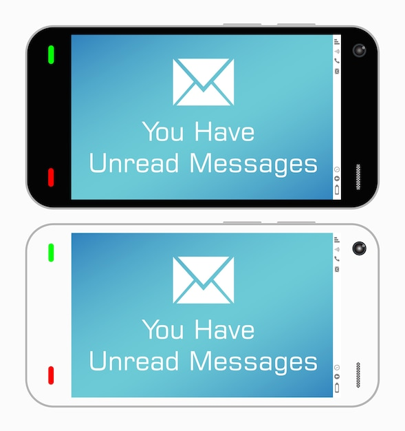 A smartphone with unread messages Premium Vector