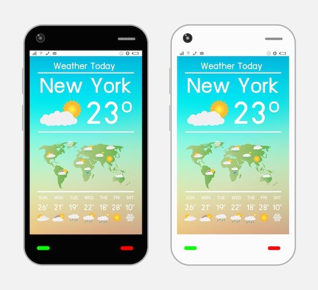 Смартфон с приложением погоды на экране Premium векторы